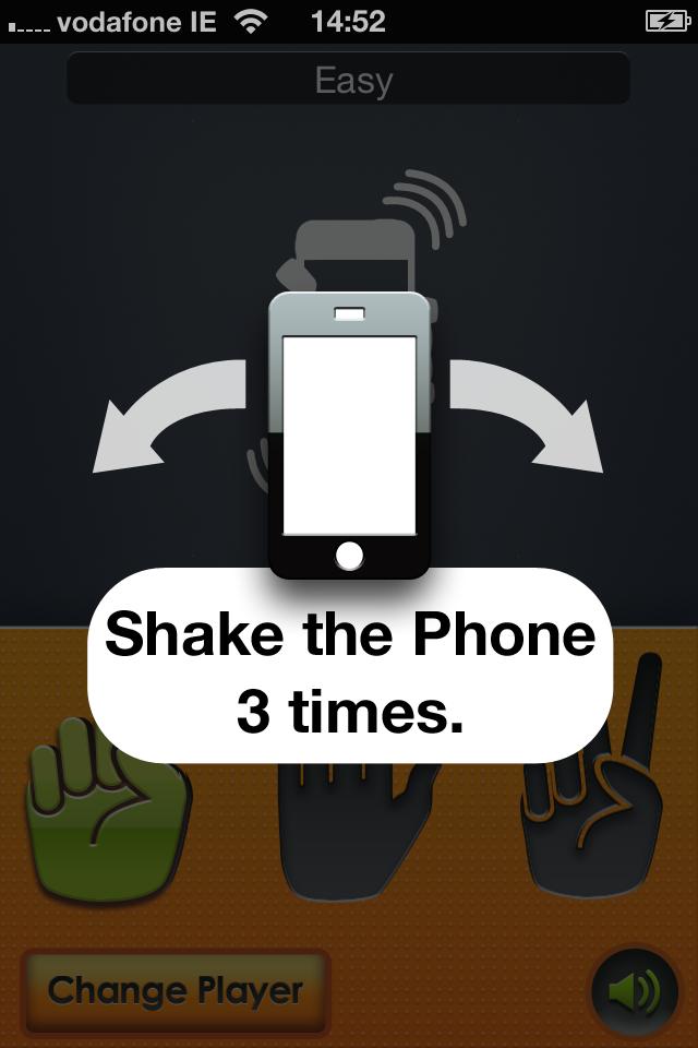 石头剪刀布,相信大家都有玩过! 要玩这个游戏,首先需要你的对手也有iphone,这样通过wifi或者是蓝牙就可以进行多人的对战了。 屏幕的下方会给出石头、剪刀、布三个不同的手势,你选择你要出的,然后摇晃你的设备三下,设备就会显示出双方所出的手势并且会在屏幕中显示出YOU WIN的字样以及声音来表示输赢,这样大家都不用担心有人耍赖啦!